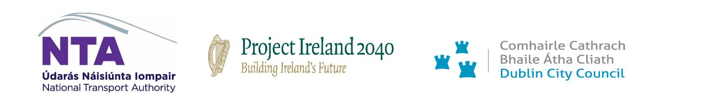 Logos for Dublin City Council, National Transport Authority, Project Ireland 2040